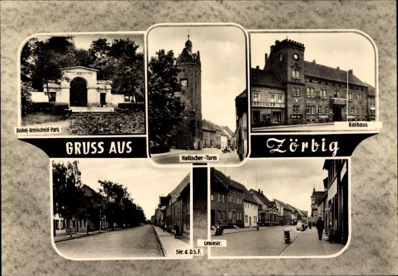 Ak Zörbig im Landkreis Anhalt Bitterfeld, Rudolf Breitscheid Park, Hallischer Turm, Rathaus