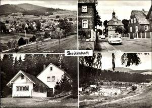 Ak Breitenbach St. Kilian in Thüringen, Hauptstraße, Blockhaus, Schwimmbad, Panorama