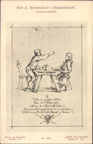Künstler Ak Hendschel, A., Därf ih's Dirndl liabn III. Nr 66, Skizzenbuch