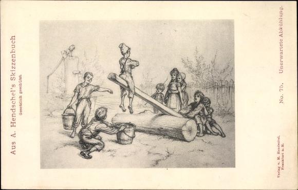 Künstler Ak Hendschel, A., Unerwartete Abkühlung, Schaukel, Eimer Wasser, Humor