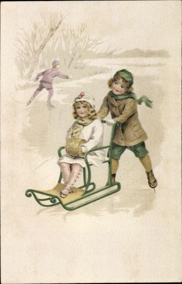 Litho Schlittschuhläufer auf einem See, Mädchen auf einem Schlitten