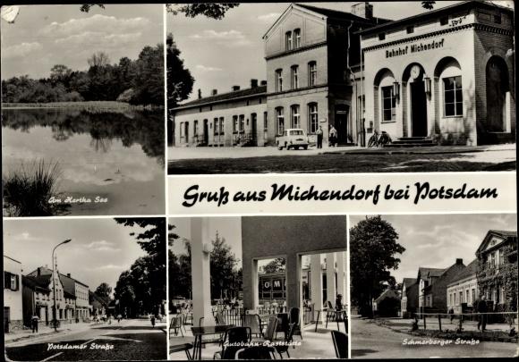 Ak Michendorf in Brandenburg, Herthasee, Bahnhof, Autobahn Raststätte, Potsdamer Straße