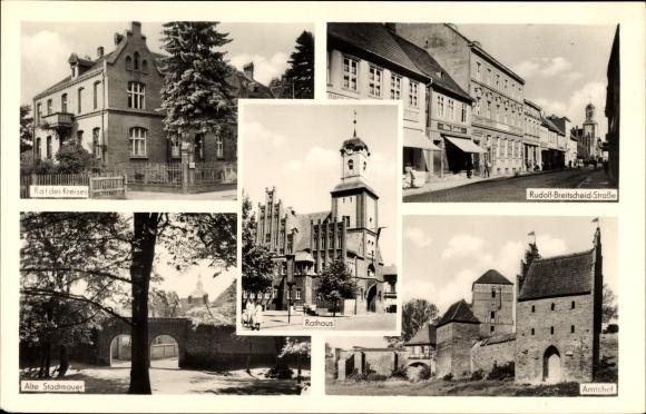 Ak Wittstock Dosse in der Ostprignitz, Rat des Kreises, Rudolf Breitscheid Straße, Rathaus, Amtshof