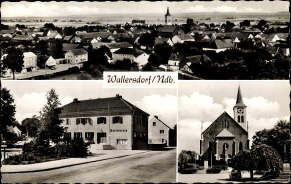Ak Wallersdorf in Niederbayern, Kirche, Rathaus, Panoramablick auf die Stadt