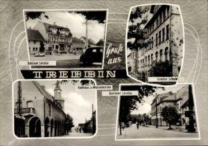 Ak Trebbin im Kreis Teltow Fläming, Berliner Straße, Goethe Schule, Rathaus, Marienkirche