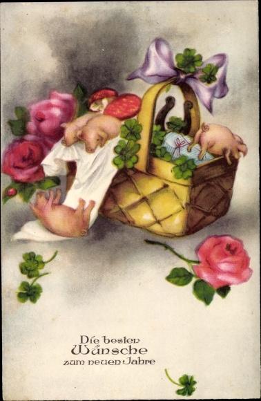 Ak Glückwunsch Neujahr, Schweine im Korb, Kleeblätter, Rosen, Hufeisen