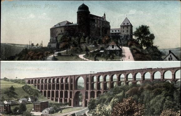 Ak Mylau Reichenbach im Vogtland, Kaiserschloss, Göltzschtalbrücke, Eisenbahn