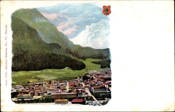 Ak Glarus Kt. Glarus Schweiz, Vogelschau auf den Ort, Apotheker Richard Brandt's Schweizer Pillen