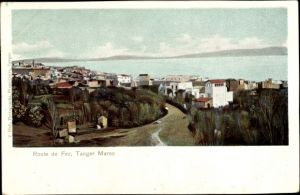 Ak Tanger Marokko, Route de Fez, Straßenpartie, Wasserblick