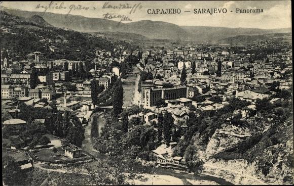ak sarajevo bosnien herzegowina panorama der stadt aus der h he fluss nr 1555065 oldthing. Black Bedroom Furniture Sets. Home Design Ideas