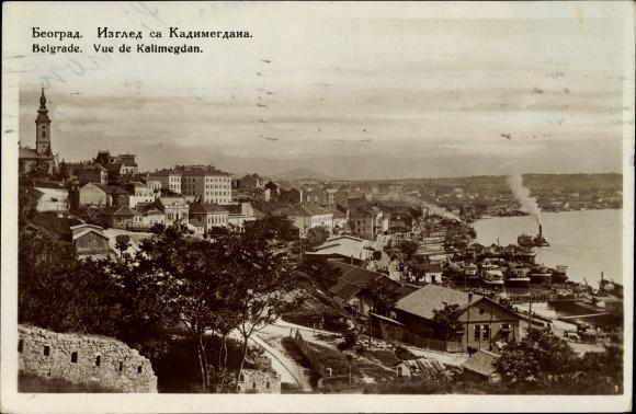 Ak Belgrad Beograd Serbien, Vue de Kalimegdan, Höhenblick auf den Ort