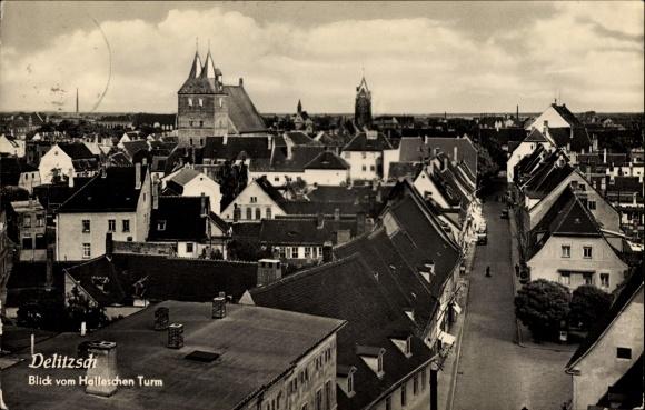 Ak Delitzsch in Nordsachsen, Blick vom Halleschen Turm