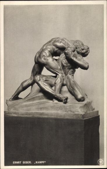 Ak Plastik von Ernst Seeger, Kampf, Körperstudie, Berliner Kunstausstellung 1907