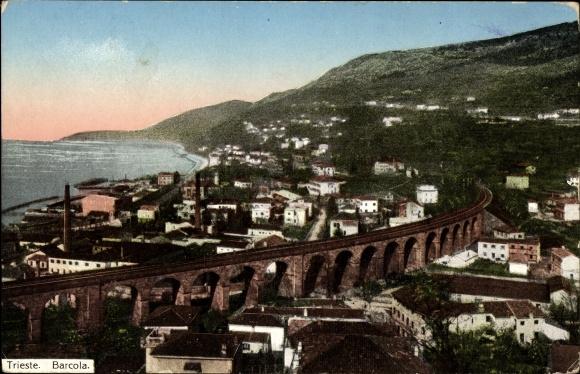 Ak Triest Friuli Venezia Giulia, Barcola, Eisenbahnviadukt, Totalansicht