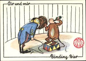 Künstler Ak Dir und mir Binding Bier, Löwendompteur, Humor, Kostüm, Zirkus