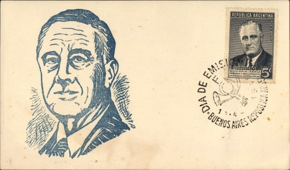 Künstler Ak Argentinien, Franklin D. Roosevelt, 32. US Präsident, Portrait, 1. Todestag