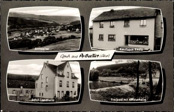 Passepartout Ak Antweiler Rheinland Pfalz, Ort, Schullandheim, Kaufhaus Reetz, Freibad, Kinderheim