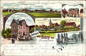 Litho Hary Bockenem in Niedersachsen, Geschäftshaus H. Runge, Helmsens Hof, Schule, Pfarrhaus