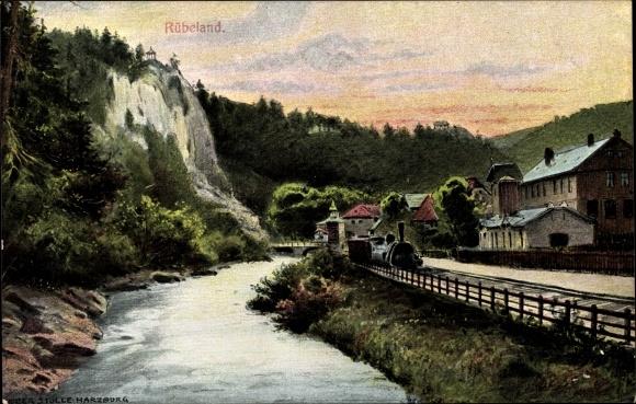 Ak Rübeland Oberharz am Brocken, Zahnradbahn Blankenburg Rübeland Tanne, Fluss