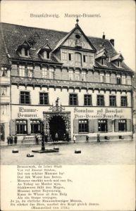 Ak Braunschweig in Niedersachsen, Blick zur Mumme Brauerei, Mummelied von 1718