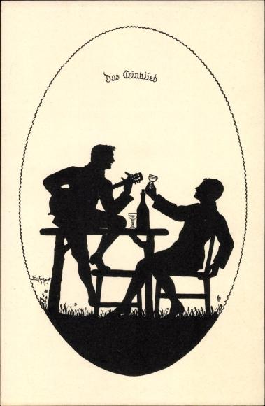 Scherenschnitt Ak Forck, Elsbeth, Das Trinklied, Reihe III, Lieder zur Laute, trinkende Männer