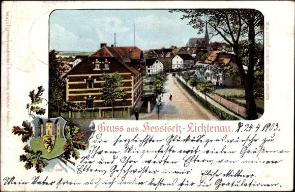 Wappen Ak Hessisch Lichtenau im Werra Meißner Kreis, Straßenpartie im Ort