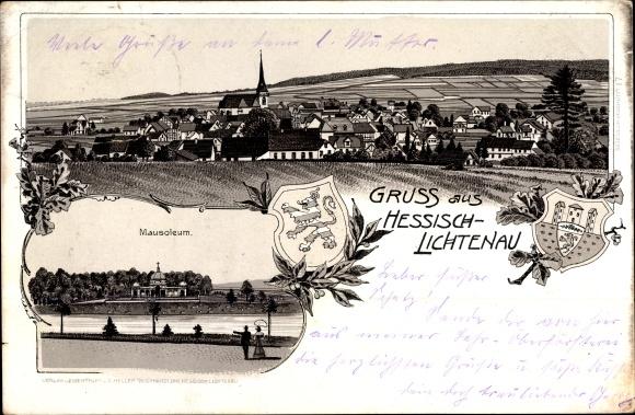Litho Hessisch Lichtenau im Werra Meißner Kreis, Totalansicht vom Ort, Mausoleum