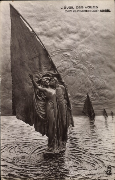 Ak Plastik von Mastroianni, Domenico, L'Éveil des Voiles, Das Aufgehen der Segel, Liebespaar