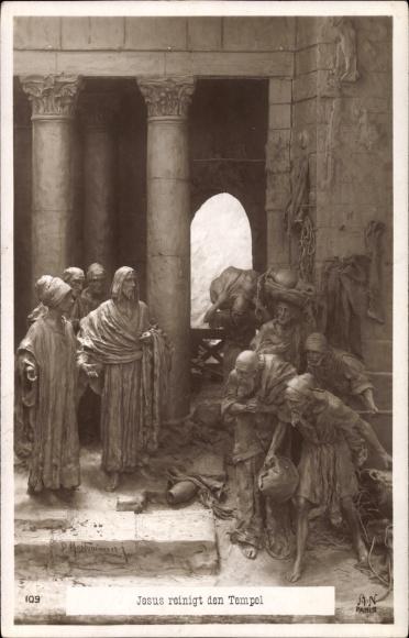 Ak Plastik von Mastroianni, Domenico, Jesus reinigt den Tempel