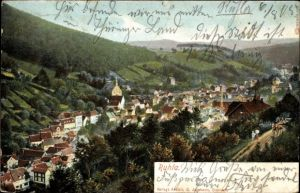 Ak Ruhla in Westthüringen, Panorama von der Ortschaft