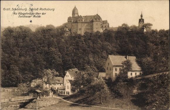 Ak Rochsburg Lunzenau in Sachsen, Schloss, Hängebrücke über der Zwickauer Mulde