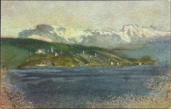 Künstler Ak Welti, Albert, Nr. 210, Mein See, Landschaftsansicht, Ortschaft