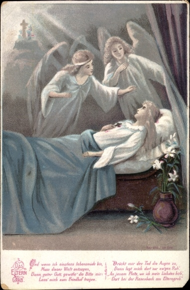 Litho Das Eltern Grab, zwei Engel am Sterbebett, und wenn ich einst lebensmüde