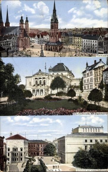 Ak Halle an der Saale, Marktplatz, Alte Promenade mit Stadttheater, Universität mit neuem Auditorium