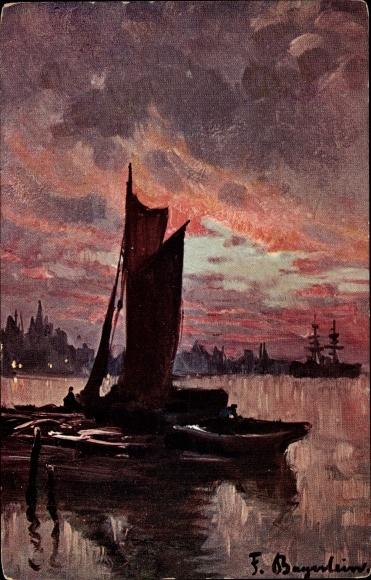 Künstler Ak Bayerlein, Fritz, Hafenpartie bei Sonnenuntergang, Segelboot, Stadtansicht