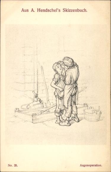 Künstler Ak Hendschel, Albert, Augenoperation, Hausbau, Skizzenbuch No. 35