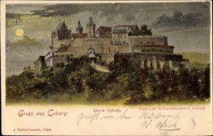 Ak Coburg in Oberfranken, Veste Coburg bei Nacht
