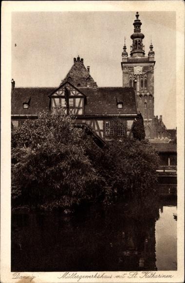 Ak Gdańsk Danzig, Müllergewerkshaus mit St. Katharinenkirche