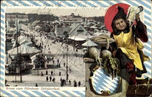 Präge Passepartout Ak München Bayern, Gruß vom Oktoberfest, Münchner Kindl