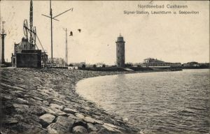 Ak Cuxhaven in Niedersachsen, Signalstation, Leuchtturm, Seepavillon