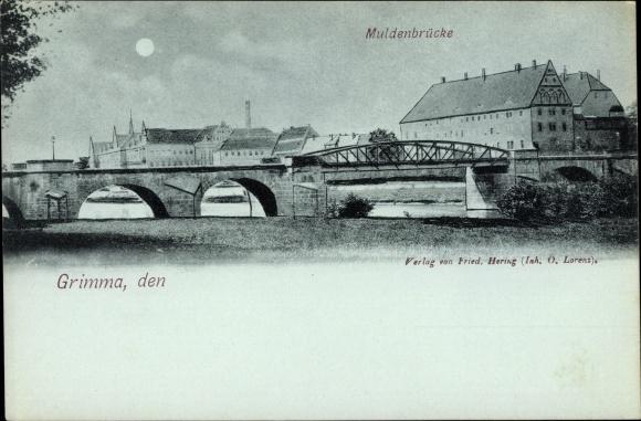 Mondschein Ak Grimma in Sachsen, Muldenbrücke