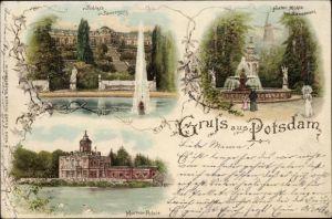 Litho Potsdam in Brandenburg, Schloss Sanssouci, Historische Windmühle, Marmor Palais