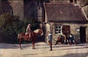 Ak Rothenburg ob der Tauber Mittelfranken, Zollhäuschen, St. Wolfgangskirche