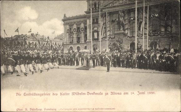 Ak Hamburg Altona, Enthüllungsfeier des Kaiser Wilhelm Denkmals 1898, Rathaus, Kaiser anwesend