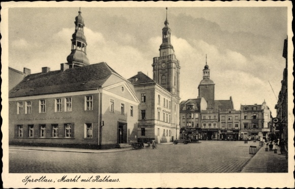 Ak Szprotawa Sprottau Schlesien, Marktplatz mit Rathaus, Rynek, Ratusz