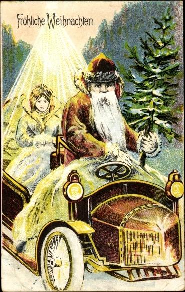 Ak Frohe Weihnachten Weihnachtsmann Im Auto Christkind Tannenbaum