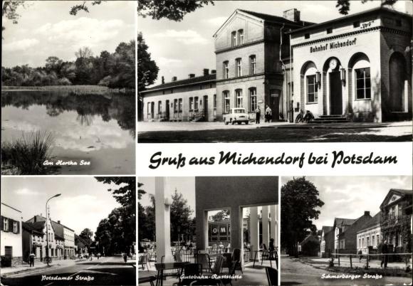 Ak Michendorf im Landkreis Potsdam Mittelmark, Bahnhof, Autobahn Raststätte, Hertha See