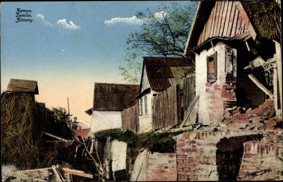 Ak Zemun Semlin Belgrad Beograd Serbien, Kriegszerstörungen, I. WK