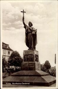 Ak Fulda in Osthessen, Partie am Bonifacius Denkmal