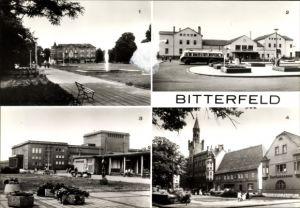 Ak Bitterfeld in Sachsen Anhalt, Platz der Jugend, Bahnhof, Straßenseite, Kulturpalast, Marktplatz